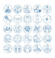 Fitness and healthy life style line icons vector image vector image