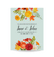 floral wedding invitation card with autumn