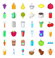fruit drink icons set cartoon style vector image vector image