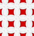 Geometric white pattern with red vector image vector image