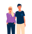 group portrait male and female character isolated vector image
