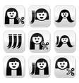 Hair extensions haircut buttons set vector image