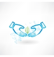 hands and leaf grunge icon vector image vector image