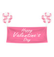 happy valentines day pink banner with balloons vector image vector image