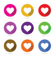 heart in color circle set vector image vector image