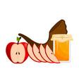 honey jar with apples and a shofar rosh hashanah vector image