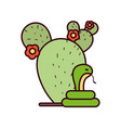 isolated cactus and snake design vector image vector image