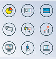 job icons colored line set with introducing pie vector image