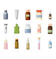 medical bottle icon set cartoon style vector image