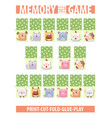 memory card game with cartoon animals different vector image vector image