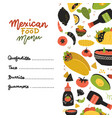 mexican food menu design template square banner vector image vector image