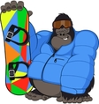 Monkey and Snowboard vector image vector image