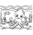 Octopus Coloring Pages vector image vector image