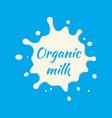 organic milk label milk splash and blot vector image vector image