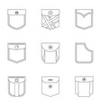 pants pocket icon set outline style vector image vector image