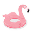 pink flamingo inflatable rubber circle vector image