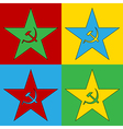 Pop art communism star icons vector image vector image