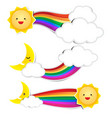 rainbow paper cloud paper and moon paper with shad vector image vector image