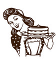 retro smiling housewife holding plate sweet vector image vector image