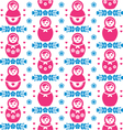 Russian doll Matryoshka folk art floral pattern vector image