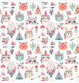 seamless pattern with cute woodland boho tribal vector image vector image