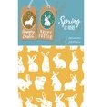 set easter tags and rabbit easter vector image vector image