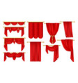 set isolated open red curtain for theateropera vector image