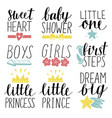 set of 9 children logo with handwriting little vector image