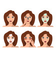 set of female character having face spa procedures vector image