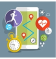 Smart phone with sport icons vector image vector image