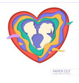 template of greeting card with shape of kissing vector image vector image