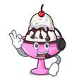 with headphone ice cream sundae mascot cartoon vector image vector image