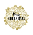 Xmas golden wreath and greetings vector image vector image