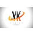 yk y k letter logo with fire flames design and vector image vector image