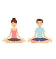 yoga group concept young couple meditating vector image vector image