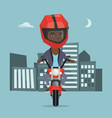 young african woman riding a motorcycle at night vector image vector image