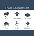 6 autumn icons vector image vector image