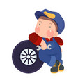 Auto Mechanic Boy Leaning Against a Car Tire vector image