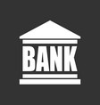 bank building icon in flat style on black vector image vector image