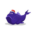 big blue fish in santas hat christmas pet vector image vector image