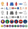 boxing extreme sports cartoon icons in set vector image