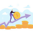 businessman character pushing coin up to the arrow vector image