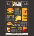 cartoon a design fast food vector image vector image