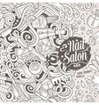 Cartoon doodles Nail salon frame design vector image vector image