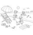 Children at the beach vector image vector image