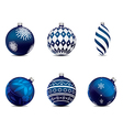 christmas balls collection blue vector image
