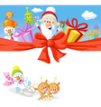 christmas design with santa claus gifts xmas tree vector image vector image