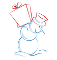 christmas snowman carrying a present vector image
