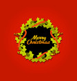 christmas wreath with red gold ribbon vector image vector image