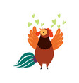 colorful rooster crowing farm cock cartoon vector image vector image